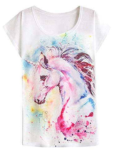 Camiseta feminina casual de manga curta com estampa de cavalo misterioso Dream da Futurino, Flower Horse, X-Large