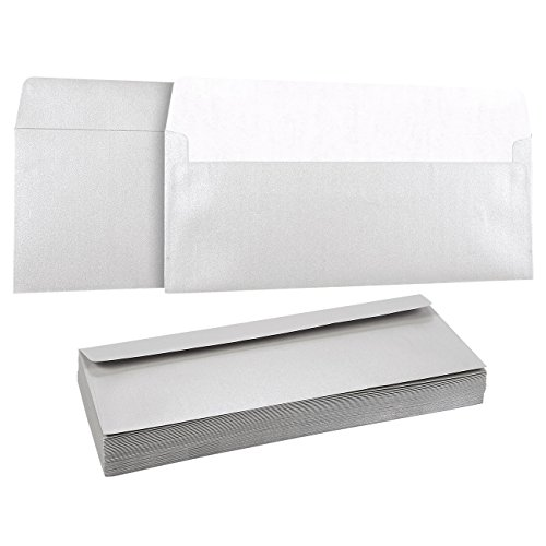 50 Pack #10 Silver Business Envelopes - Value Pack Square Flap Envelopes - 4 1/8 x 9 1/2 Inches - 50 Count, Silver