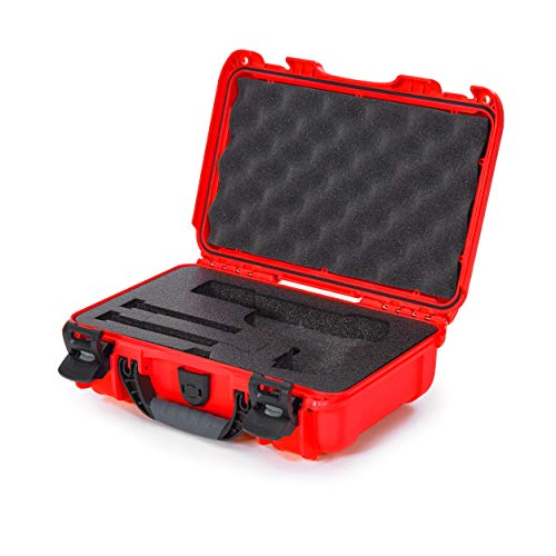 Nanuk 909 Waterproof Professional Classic Pistol/Gun Case, Military Approved with Custom Insert - Red