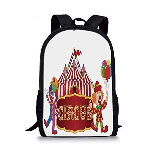 AOOEDM Mochila Escolar Elegante con decoración de Circo, Carpa de Circo con Publicidad de Payaso, cartelera para Hombre, clásica para niños, 11 'L x 5' W x 17 'H