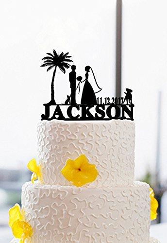 buythrow Wedding Cake Toppers Novia y Novio–Mr & Mrs Personalizado Fecha Amor Boda Figuras de Pesca