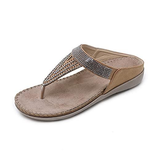 NJZYB Zapatillas De Mujer Retro Flat Casual Flip-Flops Antideslizantes para Mujer Diapositivas De Playa Sandalias Suaves Y Cómodas Diapositivas para Mujer (Color : Brown, Size : 40)