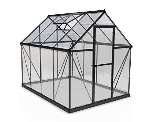 Palram Harmony Greenhouse - Clear Polycarbonate, Aluminum Frame, Base Included - Grey 6x8ft