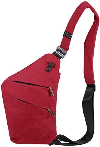 ABO Sling Backpack Sacoche de Poitrine Léger Sport de Plein air Voyage Randonnée Anti-vol Bandoulière Sac à bandoulière Sac à Dos pour Hommes Femmes, Rouge