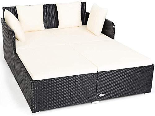 YRRA Outdoor Rattan Daybed Sunbed Furniture W/Amplio Asiento Cojín tapizado y de Alta Resistencia Patio de Mimbre Sofá Set con Almohadas adicionales para el Patio (Turquesa)-Blanco