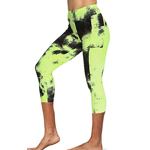 N /C Pantalones deportivos casuales de ajuste cercano, tie-Dyed impreso patrón elástico cintura alta polainas