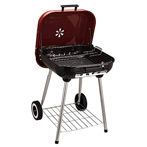 "Outsunny 19"" Steel Porcelain Portable Outdoor Charcoal Barbecue Grill with Wheels"