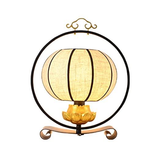 JAKROO Lámpara de Mesa de Estilo Zen Chino Retro, lámpara de Mesa Creativa clásica, lámpara de Mesa Decorativa de Loto Personalizada, Adecuada para Sala de Estar, Dormitorio, Sala de Estudio