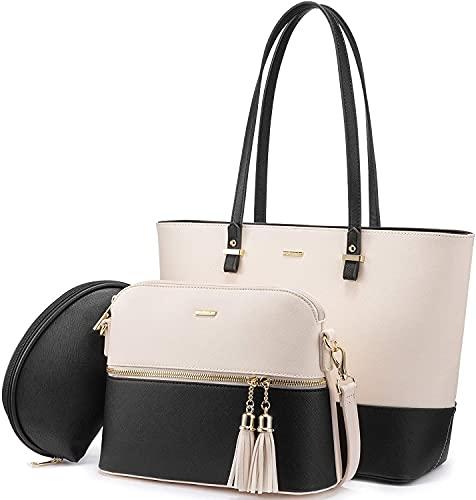 Generisch 3-teiliges Damenhandtascheset Schwarz-Beige, Handbag, Schultertasche, Umhängetasche, Damenhandtasche