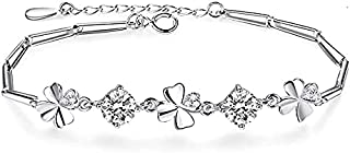 925 Sterling Silver Four-Leaf Clover Bracelet for Women with 3A Zircon Silver Bracelet Jewelry 16+3CM Extended Chain Birth...