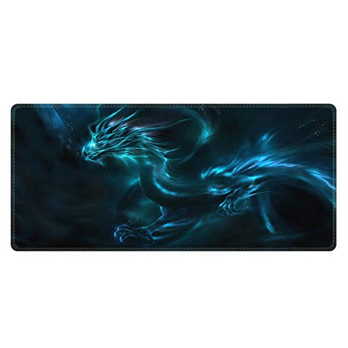 Meffort Inc Extra Large Extended Gaming Desk Mat Non-Slip Rubber Pads Stitched Edges XXL Mouse Pad 35.4 x 15.7 inch - Blue Dragon