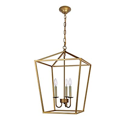 Foyer Lantern Pendant Light Fixture, Dst Antique Brass Iron Cage Chandelier Industrial LED Ceiling Lighting for Farmhouse, Dining Room, Table Light, Entryway, Hallway, Stairway D17'' H25'' Chain 59''