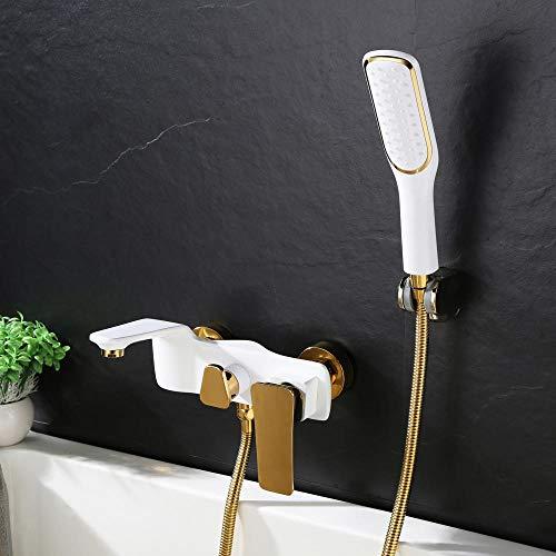 Grifo para Bañera de Latón para Baño Grifería de Bañera Mezclador de Bañera con En Pared Sistema de Ducha para Bañera-Blanco