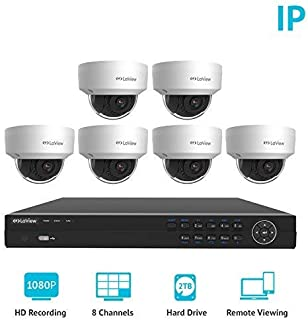 LaView 8 Channel Full HD 1080P Business and Home Security Camera System 6X True 2MP PoE Weatherproof Dome IP Cameras with HD 2TB Surveillance NVR
