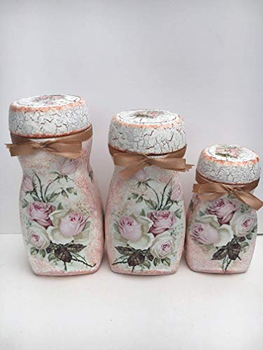 conjunto de tarros de cristal decorados con adorno de rosas