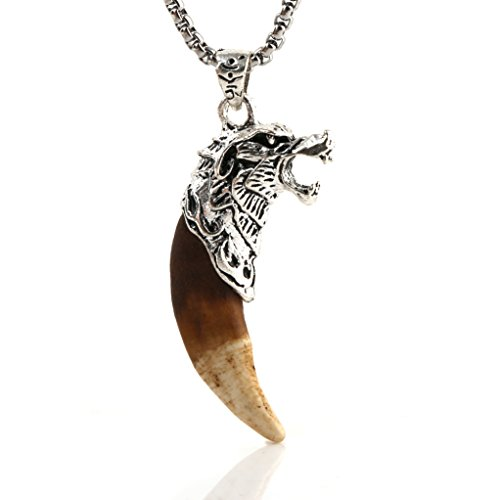 HZMAN Mens Metal Wolf Head Pendant Necklace Indian Teeth Tribe Jewelry, Brown