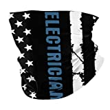 Electrician with American Flag Summer Bandana Face Mask -Balaclava Scarf Dust Sun Uv Protection Fishing Neck Gaiter - for Men & Women Black