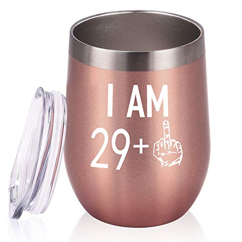 29 Plus One Middle Finger Wine Tumbler 30th Birthday Gifts for Women, Turning 30 Funny Tumbler Gifts Idea for Friends Her Wife Mom Coworkers, 12 Oz Insulated Tumbler Glasses, Rose Gold
