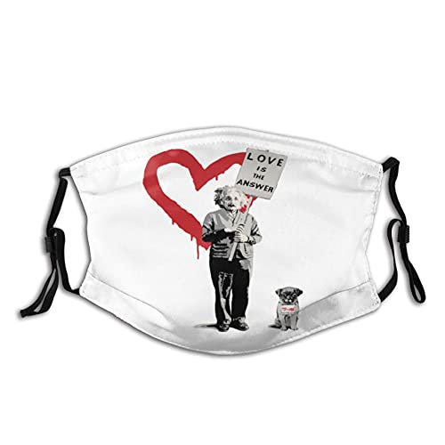 Mask - Banksy Einstein Love is The Answer Personalized Face Mask Reusable Washable Adjustable Soft Comfortable for Women Men Black