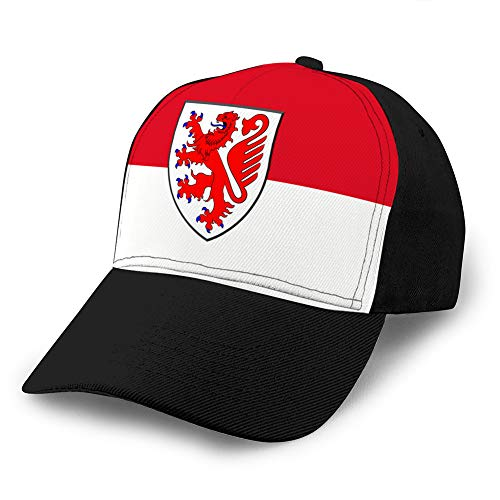 hyg03j4 Washed Dyed Hats Baseball Caps Verstellbare Flagge von Braunschweig in Lower Saxony Germany Fitted Hat