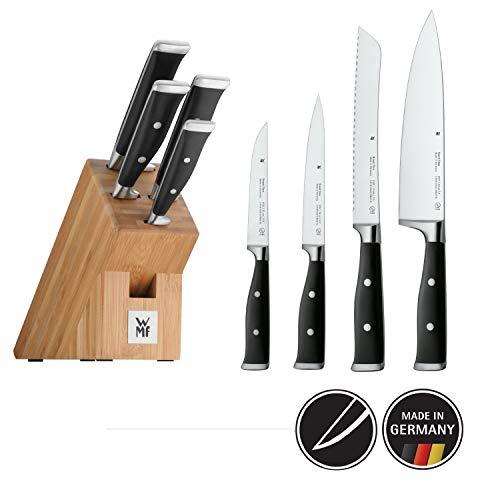 WMF Grand Class Messerblock mit Messerset 5teilig, Spezialklingenstahl, 4 Messer geschmiedet, Bambus-Block, Performance Cut