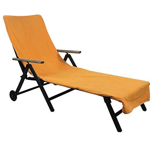 Schonbezug für Gartenliege 75 x 200 cm - Liegenschonbezug Diamant - Strandliegenauflage für Gartenliegen, Strandliegen oder Badeliegen - Frottee Schonbezug aus 100% Baumwolle, Farbe:Orange