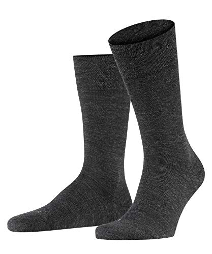 FALKE Herren Socken Sensitive Berlin, Merinowolle Baumwolle, 1 Paar, Grau (Anthracite Melange 3080), 39-42 (UK 5.5-8 Ι US 6.5-9)