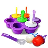 Silicone Popsicle Mold, 7-cavity DIY Ice Pop Molds for Baby Kids,Ice Pop Molds Maker,Reusable Baby Popsicle Food Storage Container (Including Spoon) (purple)