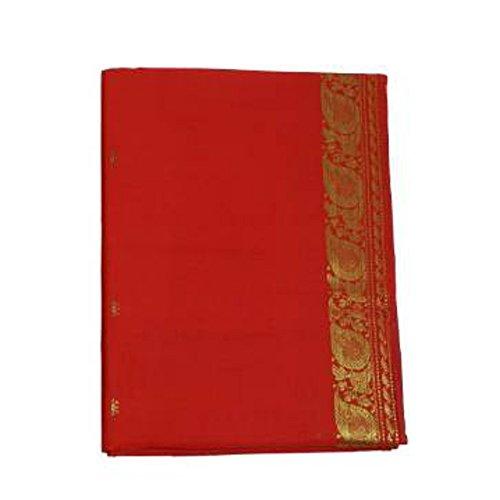Sari rojo brocado dorado vestido tradicional de la India ropa instrucciones para ponérselo tarjeta con bindis