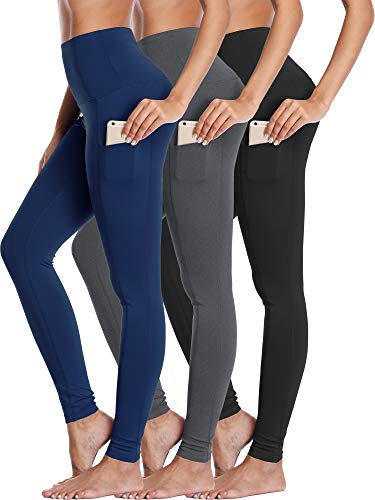 Neleus Women's 3 Pack Yoga Pant Workout Leggings Tummy Control High Waist,103,Black,Grey,Navy,US XL
