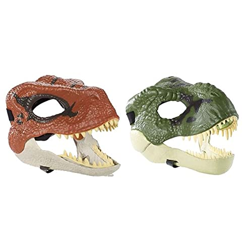 Jurassic World Legacy Velociraptor & Tyrannosaurus Rex Mask Bundle with Opening Jaw, Realistic Texture and Color, Eye and Nose Openings and Secure Strap; Ages 4 and Up