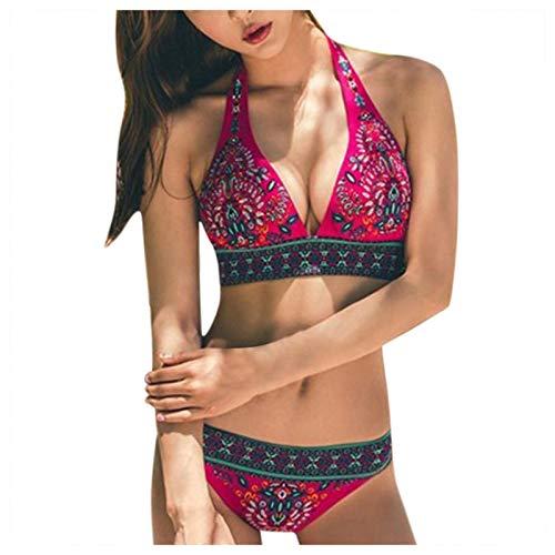 YANFANG Traje de baño de Bikini de Tiras con Estampado Retro con característica de no posicionamiento 2 Piezas para Mujer