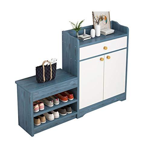 Zapatero multifunción nórdico con 2 puertas para el hogar, balcón, sala de estar, vestíbulo, armario de almacenamiento para zapatos (color azul)