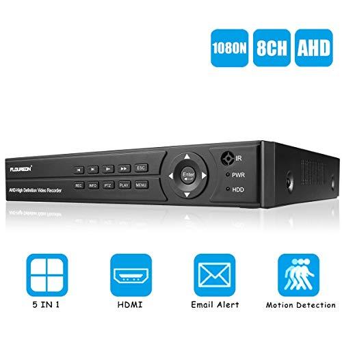 FLOUREON Enregistreur 8CH AHD DVR Vidéosurveillance 1080N HDMI H.264 CCTV Détection de Mouvement Surveiller à Distance Accès par PC Smartphone Support TVI/CVI/AHD/Analogique/Caméra IP