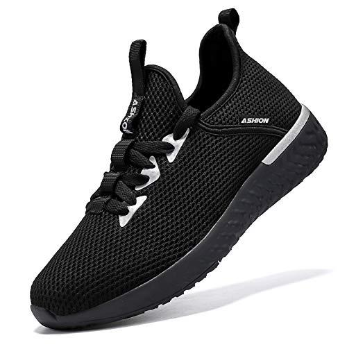 ASHION Kinder Turnschuhe Jungen Sneaker Mädchen Sportschuhe Kinderschuhe Laufschuhe für Unisex-Kinder (Q Schwarz ,36 EU)
