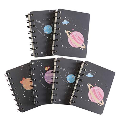 NUOBESTY - 6 cuadernos de bolsillo, diseño de planeta fantasía, espiral, mini bloc de notas en espiral, para recuerdos de fiestas infantiles, papel en blanco, color al azar, A7