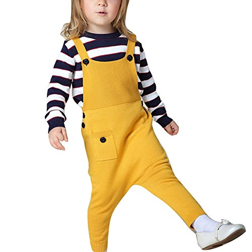 Kinder Jungen Mädchen Overall - Juleya Baby Kinder Latzhose Reine Baumwolle Overall Hose für 1-5 Jahre Gelb