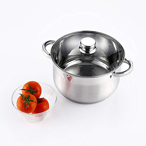 Stainless Steel Stock Pot 8 Quart with Lid - Mirror Polished Stockpot 8 Quart with Lid - Healthy Cookware Induction Soup Pot Thickened handle (6 Quart)