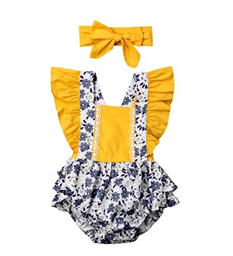 Macacão floral para bebês recém-nascidos, roupas para meninas + faixas para cabeça, Amarelo, 6-12 meses