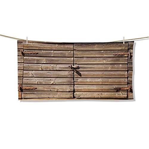 Toallas de Playa Arte Puerta de Granero Envejecida de Madera Vieja con candado Abandonado Vintage Granja Casa Rural Juegos de Fotos Toalla de Piscina Alfombra de meditación Ligera