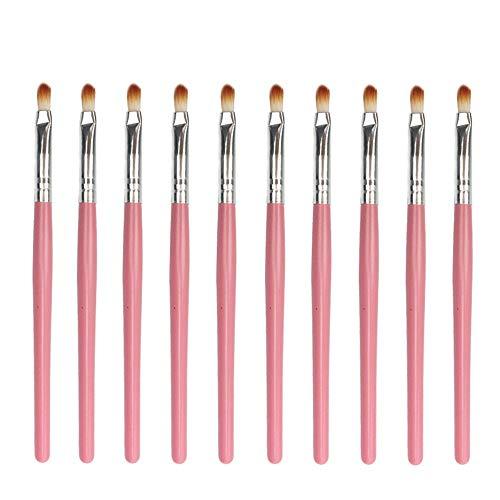 10 Pinceau de Maquillage Professionnel Eye Smudge Set Pinceau à lèvres Ombre à Paupières Faits saillants Pratique Outil - Rose Voyage (Color : Pink Silver)