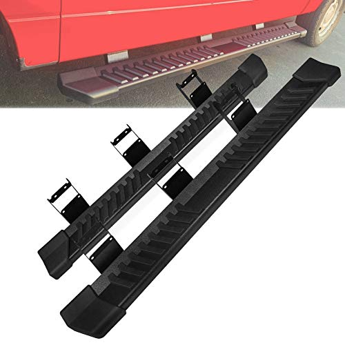Pair Running Board Nerf Bar Compatible with 15-21 Ford F150 Superduty Crew Cab(4 Full Size Doors) Rocker Slider Side Steps,Width 6 Inches V Style.with OE Style Brackets