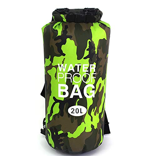 RONSHIN Al aire libre impermeable bolsa de camuflaje cubo bolsa para playa surf deportes al aire libre camuflaje verde 20L
