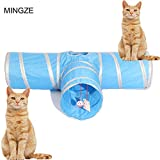 MINGZE Cat Tunnel Toy-T, Jouet en Forme de Y, Type Droit, Jouet Pliable, 3 Voies, pour Lapins, Chatons et Chiens (Type t)