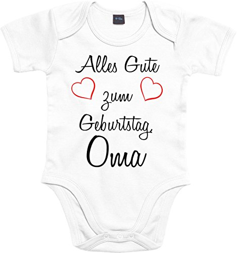 Mister Merchandise Baby Body Alles gute zum Geburtstag, Oma Strampler liebevoll bedruckt Glückwunsch Weiß, 0-3