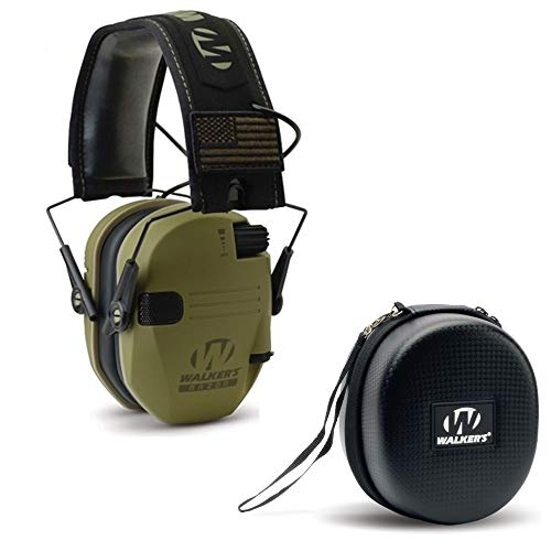 Walker's Razor Slim Shooter Electronic Hunting Folding Hearing Protection Earmuffs w/ 23dB Noise Reduction and Shockproof Carrying Case, Green Patriot