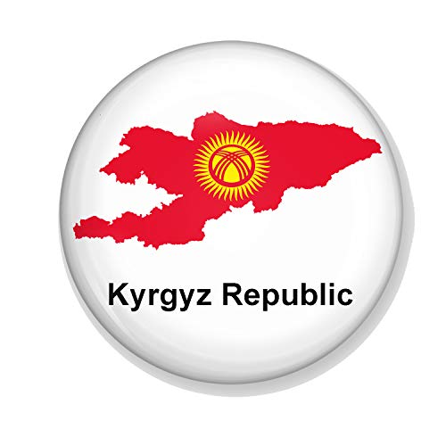 Gifts & Gadgets Co. Kyrgystan Flag On Map Of Kyrgyz Republic Button Badge...