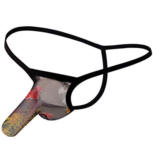 WYTong Underwear for Men Briefs Sexy Transparent See Through Shorts Hot Lip Print Underpants Sex Lingerie(Black,XL)