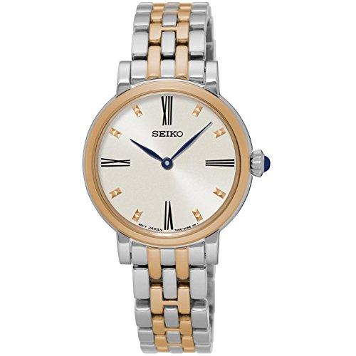 Seiko De Las Mujeres 29mm Multicolor de dos tonos pulsera de acero caja de acero cuarzo Silver-tone Dial reloj sfq816