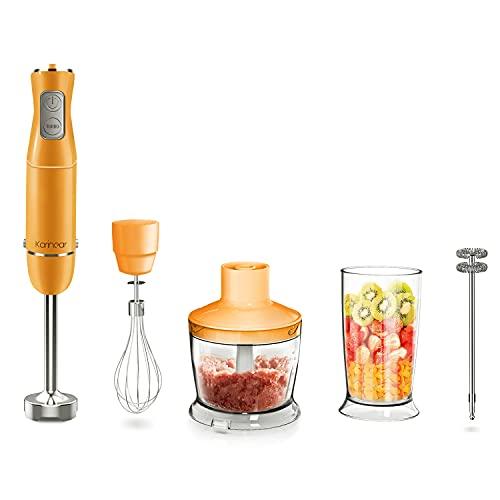 Karinear Frullatore a Immersione, 5 in 1 Mixer Cucina da 500 ml, Tazza da 600 ml con Frusta per Uova, 12 Velocità, 600W